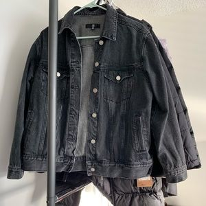 Missguided Black Washed Oversized Denim Jacket